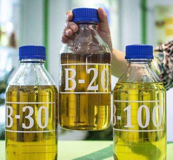 Petugas menunjukkan sampel bahan bakar minyak (BBM) B-20, B-30, dan B-100 di Jakarta. Foto : Antara