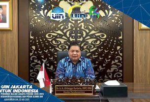Menteri Koordinator Bidang Perekonomian Airlangga Hartarto dalam webinar yang diselenggarakan UIN Syarif Hidayatullah Jakarta, Sabtu (22/5/2021).