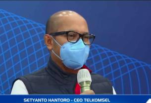 Direktur Utama Telkomsel, Setyanto Hantoro, saat jumpa pers bersama Kementerian Komunikasi dan Informatika tentang jaringan 5G, Senin (24/5/2021). Foto : Antara