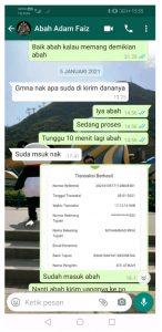 Bukti percakapan whatsapp dan bukti transfer uang.